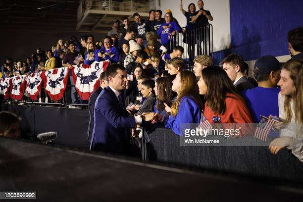 Democratic presidential candidate former South Bend Indiana Mayor Pete Buttigieg and his husband Chasten greet supporters after Buttigieg spoke at...