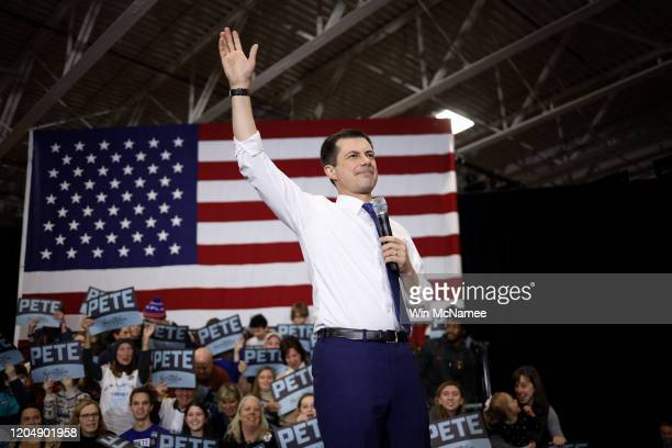 Democratic presidential candidate former South Bend Indiana Mayor Pete Buttigieg arrives on stage before speaking at a Get Out the Vote rally...