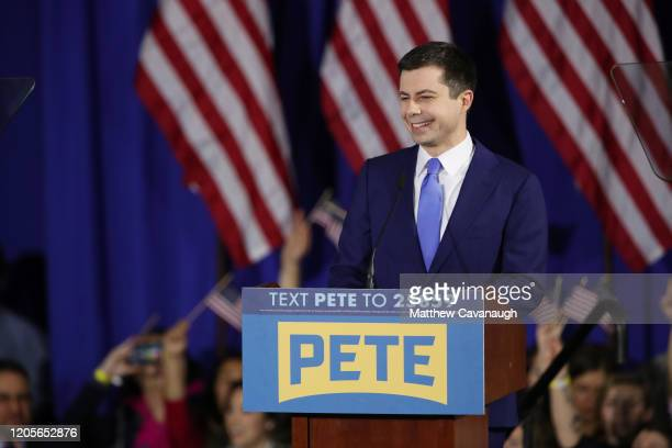 Democratic presidential candidate former South Bend Indiana Mayor Pete Buttigieg speaks at his primary night watch party on February 11 2020 in...