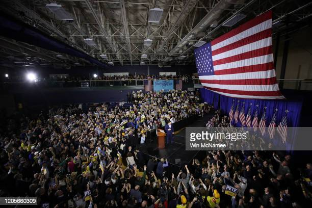 Democratic presidential candidate former South Bend Indiana Mayor Pete Buttigieg speaks at an election night event at Nashua Community College...