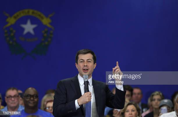 Democratic presidential candidate former South Bend, Indiana Mayor Pete Buttigieg speaks during a campaign town hall event at Durango Hills Community...