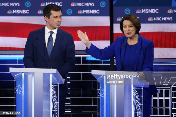 Democratic presidential candidate former South Bend Indiana Mayor Pete Buttigieg and Sen Amy Klobuchar participate in the Democratic presidential...