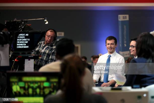 Democratic presidential candidate former South Bend Indiana Mayor Pete Buttigieg speaks to the media in the spin room after the Democratic...