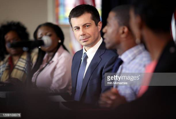 Democratic presidential candidate former South Bend Indiana Mayor Pete Buttigieg participates in a Health Equity Roundtable at Nicholtown Missionary...