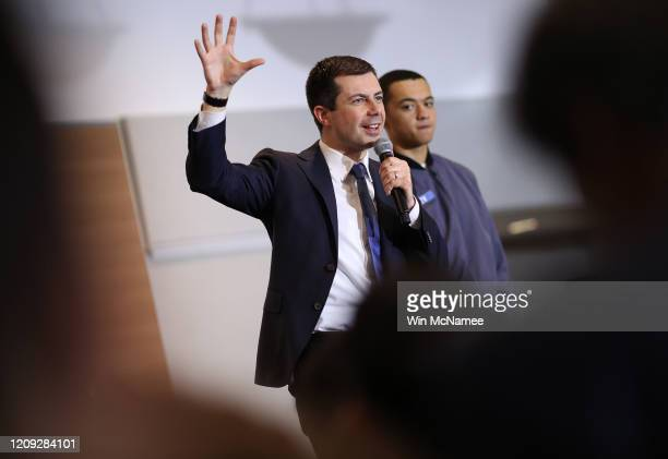 Democratic presidential candidate former South Bend Indiana Mayor Pete Buttigieg speaks at a town hall campaign event The Citadel February 28 2020 in...