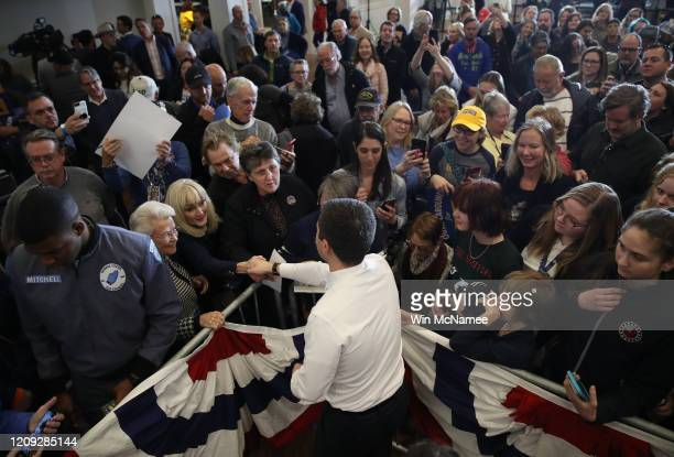 Democratic presidential candidate former South Bend Indiana Mayor Pete Buttigieg greets supporters after speaking at a town hall campaign event The...