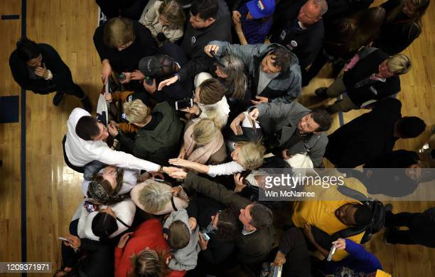 Democratic presidential candidate former South Bend Indiana Mayor Pete Buttigieg greets supporters after speaking at a town hall campaign event at...