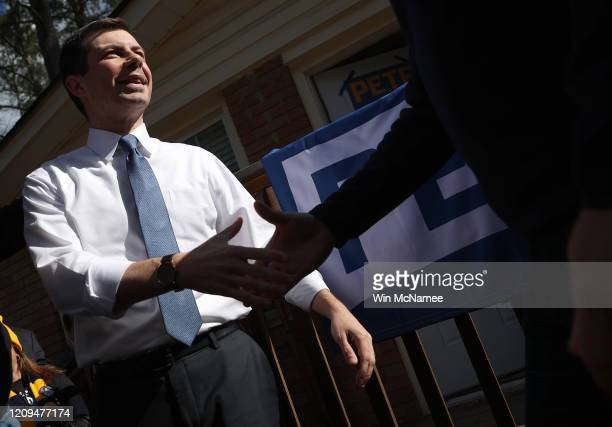 Democratic presidential candidate former South Bend Indiana Mayor Pete Buttigieg greets supporters after speaking at a canvassing launch meeting in...