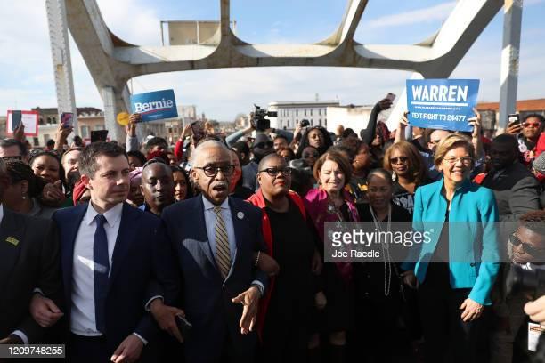 Democratic presidential candidate former South Bend, Indiana Mayor Pete Buttigieg, Rev. Al Sharpton, Democratic presidential candidate Sen. Amy...