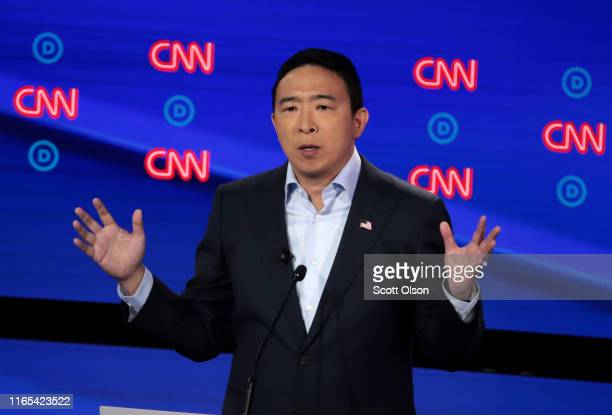 Democratic presidential candidate former tech executive Andrew Yang speaks during the Democratic Presidential Debate at the Fox Theatre July 31 2019...