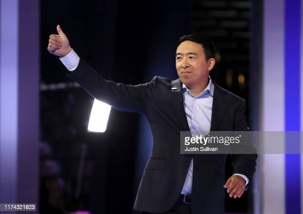 Democratic presidential candidate former tech executive Andrew Yang is introduced before the Democratic Presidential Debate at Texas Southern...