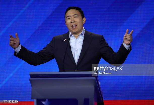 Democratic presidential candidate former tech executive Andrew Yang speaks during the Democratic Presidential Debate at Texas Southern University's...