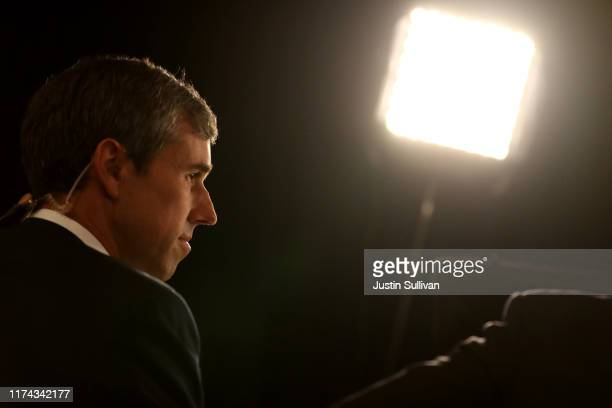 Democratic presidential candidate former Texas congressman Beto O'Rourke is interviewed by the media in the spin room after the Democratic...