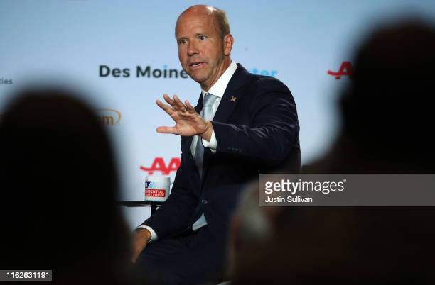 Democratic presidential candidate former US Rep John Delaney speaks during the AARP and The Des Moines Register Iowa Presidential Candidate Forum on...