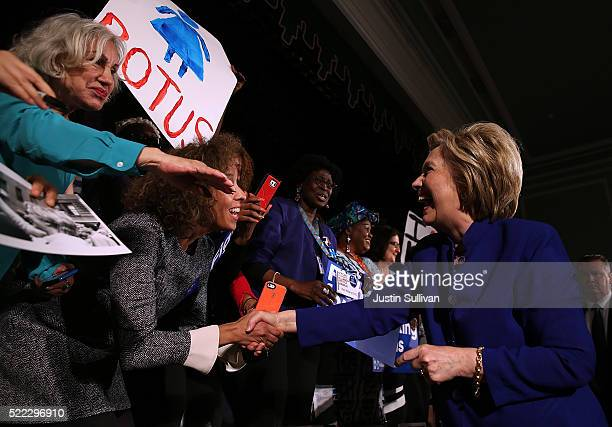 Democratic presidential candidate former US Secretary of State Hillary Clinton greets during a Get Out The Vote rally on April 18 2016 in New York...