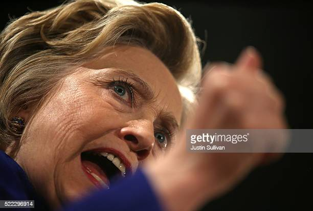 Democratic presidential candidate former US Secretary of State Hillary Clinton speaks during a Get Out The Vote rally on April 18 2016 in New York...