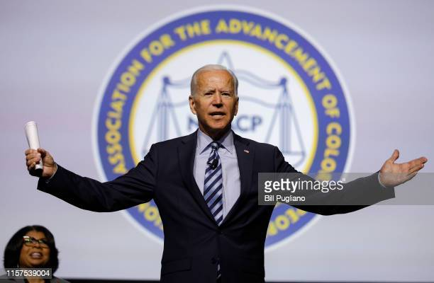 Democratic presidential candidate former US Vice President Joe Biden participates in a Presidential Candidates Forum at the NAACP 110th National...
