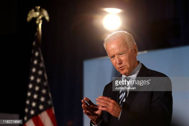 Democratic presidential candidate former US Vice President Joe Biden speaks during the AARP and The Des Moines Register Iowa Presidential Candidate...
