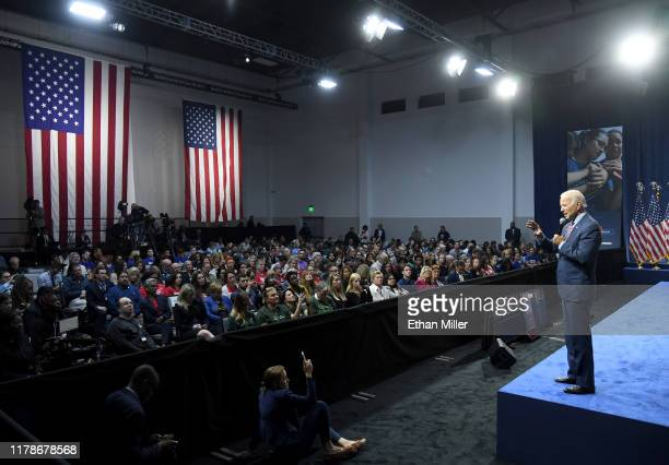 Democratic presidential candidate, former U.S. Vice President Joe Biden speaks during the 2020 Gun Safety Forum hosted by gun control activist groups...