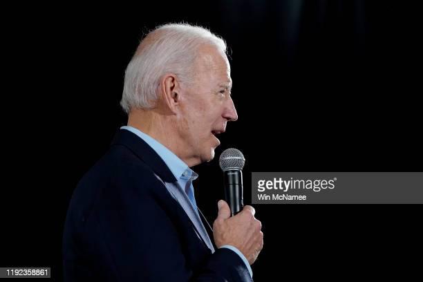 Democratic presidential candidate former US Vice president Joe Biden campaigns December 6 2019 in Elkader Iowa Former Democratic presidential...