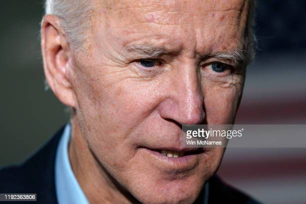 Democratic presidential candidate former US Vice president Joe Biden greets Iowa voters after speaking at a campaign event December 6 2019 in Elkader...