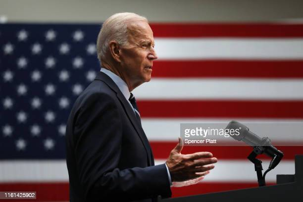Democratic presidential candidate, former Vice President Joe Biden gives a speech on his foreign policy plan on July 11, 2019 in New York City....