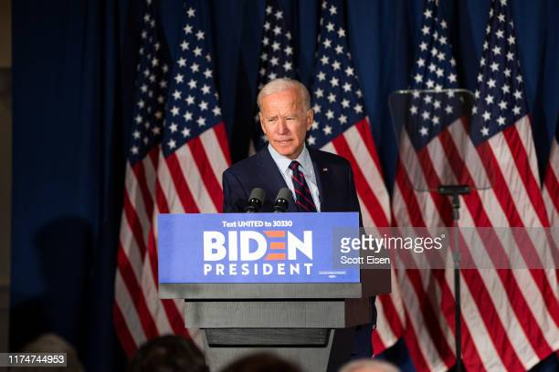Democratic presidential candidate, former Vice President Joe Biden speaks during a campaign event on October 9, 2019 in Rochester, New Hampshire. For...