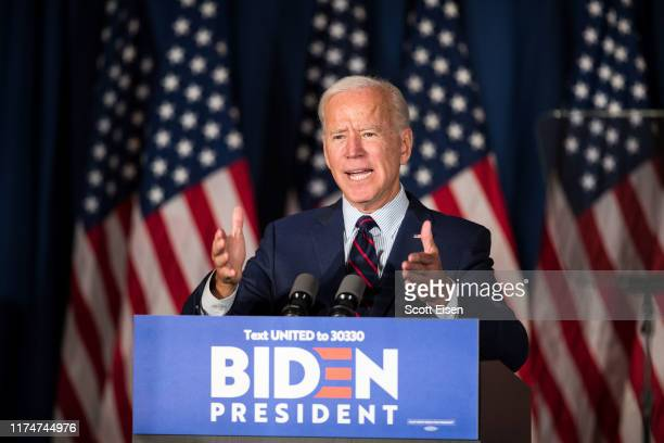 Democratic presidential candidate former Vice President Joe Biden speaks during a campaign event on October 9 2019 in Rochester New Hampshire For the...