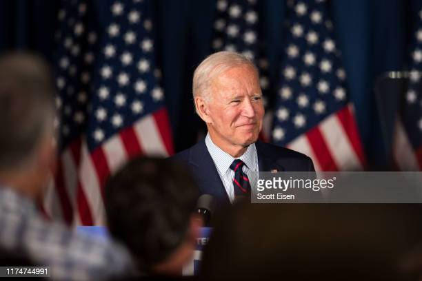 Democratic presidential candidate former Vice President Joe Biden attends a campaign event on October 9 2019 in Rochester New Hampshire For the first...