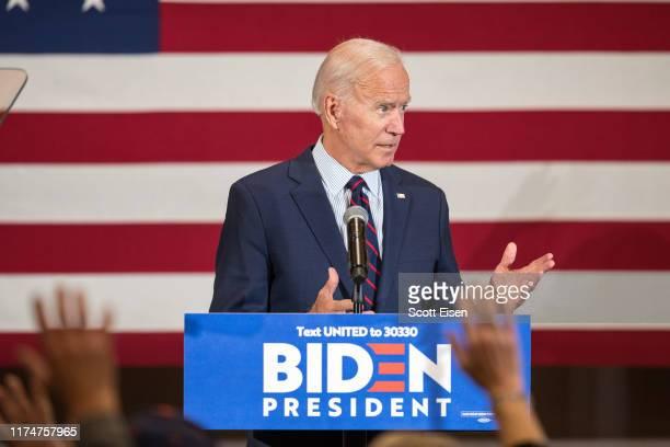 Democratic presidential candidate former Vice President Joe Biden speaks during a campaign event on October 9 2019 in Manchester New Hampshire For...