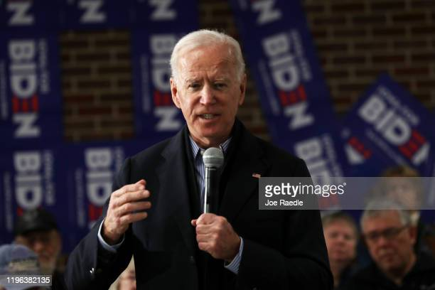 Democratic presidential candidate former Vice President Joe Biden speaks during a campaign stop at Tipton High School on December 28 2019 in Tipton...