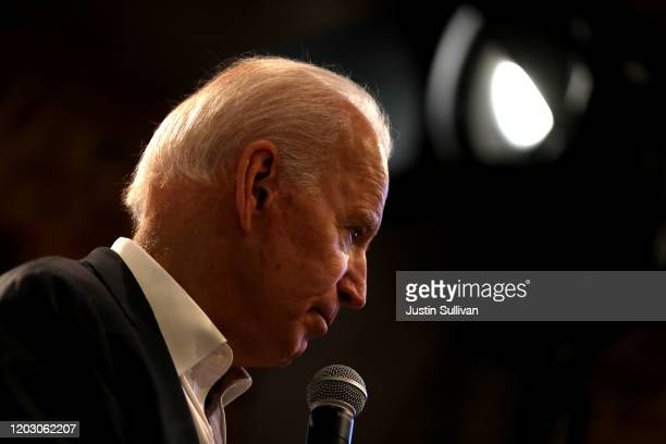 Democratic presidential candidate former Vice President Joe Biden speaks during a campaign event at Vince Meyer Learning Center on January 30, 2020...