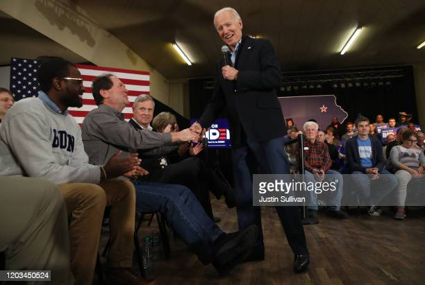 Democratic presidential candidate former Vice President Joe Biden speaks during a campaign event on February 01, 2020 in Waterloo, Iowa. With two...