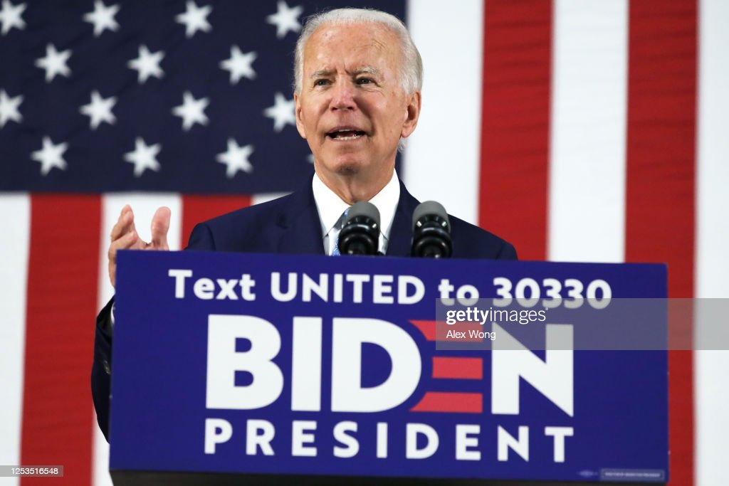 Presidential Candidate Joe Biden Delivers Remarks In Delaware : News Photo