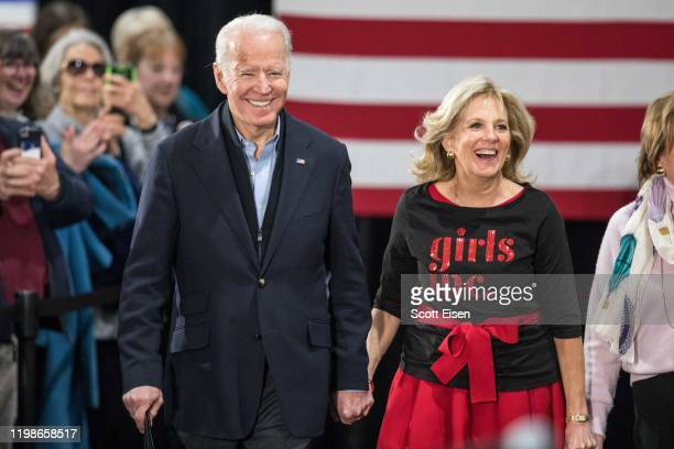 Democratic presidential candidate former Vice President Joe Biden and his wife Dr Jill Biden arrive for a campaign event at Girls Inc on February 4...
