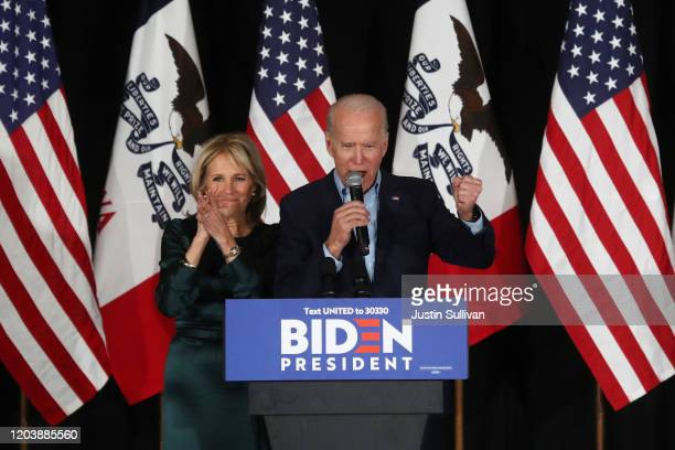 Democratic presidential candidate former Vice President Joe Biden and wife Dr Jill Biden greet supporters at a caucus night watch party on February...