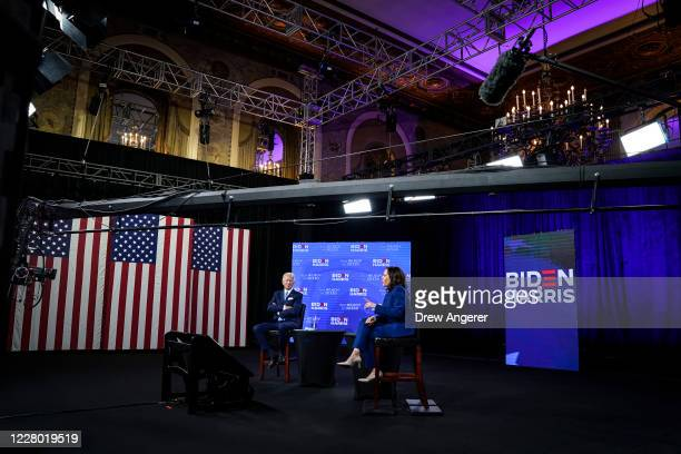 Democratic presidential candidate former Vice President Joe Biden and his running mate Sen. Kamala Harris participate in a virtual fundraising event,...