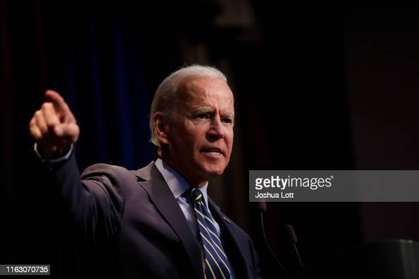 Democratic presidential candidate former Vice President Joe Biden speaks at the Iowa Federation Labor Convention on August 21 2019 in Altoona Iowa...
