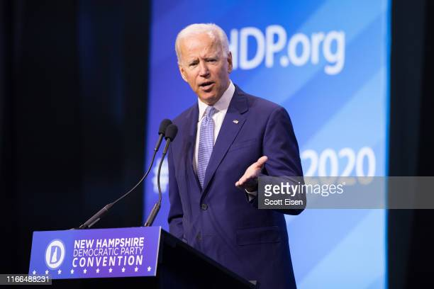 Democratic presidential candidate former Vice President Joe Biden speaks at the New Hampshire Democratic Party Convention at the SNHU Arena on...