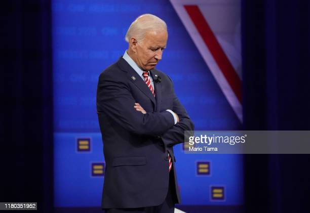Democratic presidential candidate former Vice President Joe Biden pauses at the Human Rights Campaign Foundation and CNN's presidential town hall...