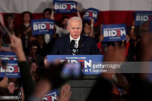 Democratic presidential candidate former Vice President Joe Biden speaks at his primary night event at the University of South Carolina on February...