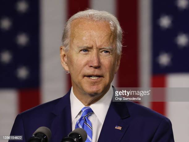 Democratic presidential candidate former Vice President Joe Biden speaks at the Chase Center July 14, 2020 in Wilmington, Delaware. Biden delivered...