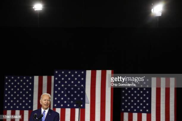 Democratic presidential candidate former Vice President Joe Biden speaks at the Chase Center July 14, 2020 in Wilmington, Delaware. Biden delivered...