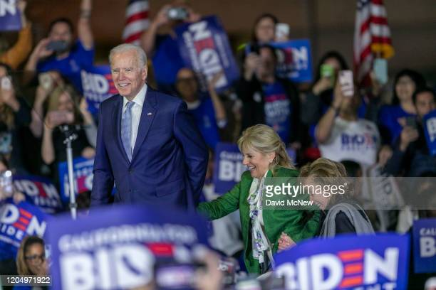 Democratic presidential candidate former Vice President Joe Biden accompanied by his wife Jill Biden and sister Valerie Biden Owens takes to the...