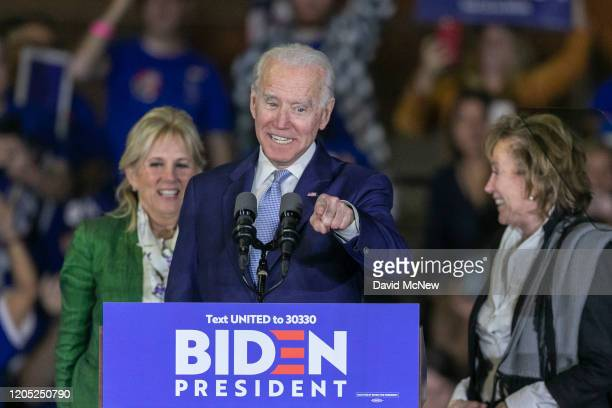 Democratic presidential candidate former Vice President Joe Biden his wife Jill Biden and sister Valerie Biden Owens attend a Super Tuesday event at...
