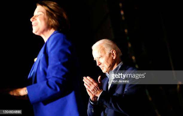 Democratic presidential candidate former Vice President Joe Biden is joined on stage by Sen. Amy Klobuchar during a campaign event on March 2, 2020...