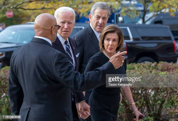 Democratic Presidential candidate former Vice President Joe Biden Speaker of the House Nancy Pelosi and Paul Pelosi arrive for the funeral of Rep...