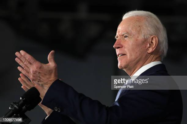 Democratic presidential candidate former Vice President Joe Biden speaks on stage after declaring victory in the South Carolina presidential primary...