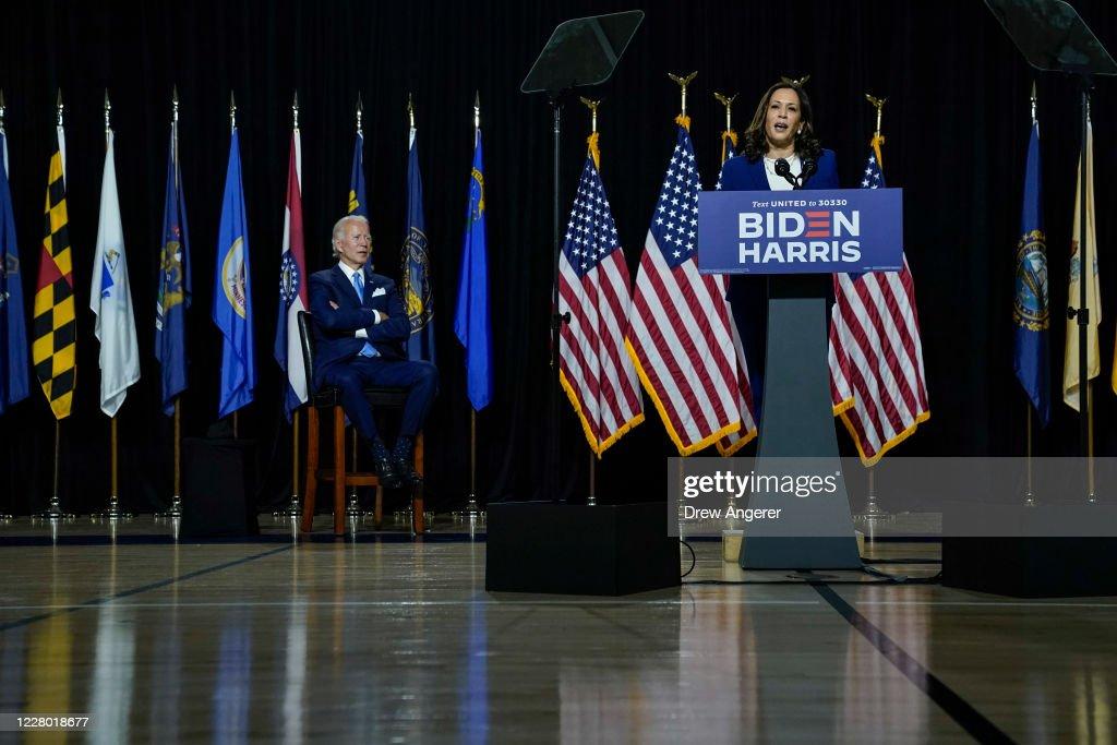 Joe Biden and Running Mate Kamala Harris Deliver Remarks In Delaware : ニュース写真
