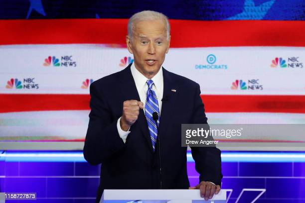Democratic presidential candidate former Vice President Joe Biden speaks during the second night of the first Democratic presidential debate on June...